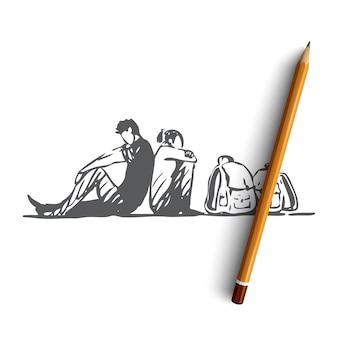 Ilustração de migração desenhada à mão