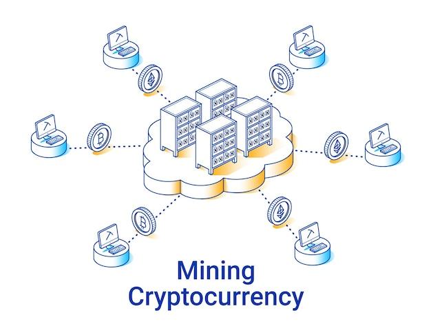 Ilustração de mineração de criptomoeda no estilo isométrico linear. linha de arte mínima. conceito de mineração em nuvem.