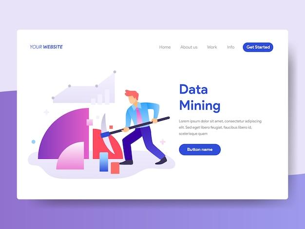 Ilustração de mineração de dados para a página inicial