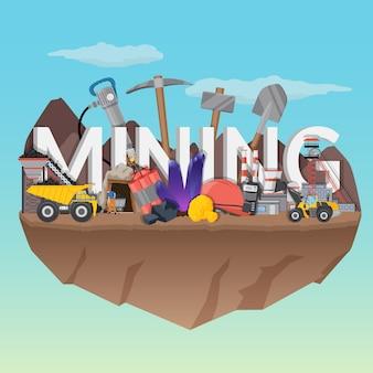 Ilustração de mineração