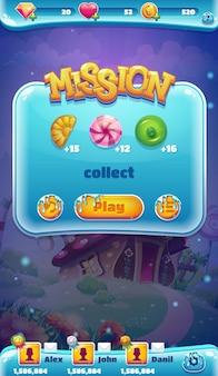 Ilustração de missão coletar sweet world mobile gui