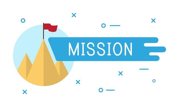Ilustração, de, missão negócio