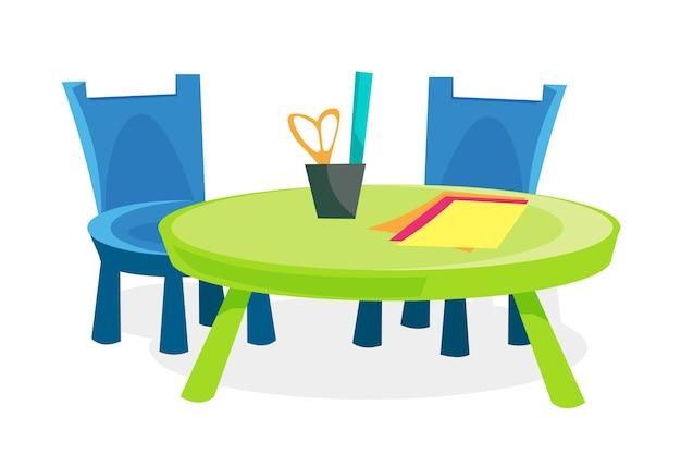 Ilustração de mobiliário infantil, cadeiras e mesa com papel colorido e artigos de papelaria isolados no fundo branco.
