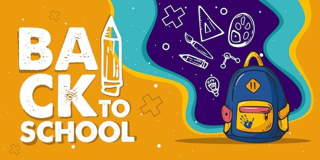 Ilustração de mochila para o banner da escola