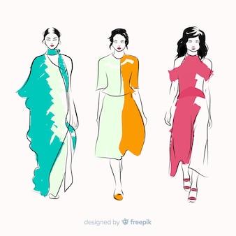 Ilustração de moda com modelo feminino