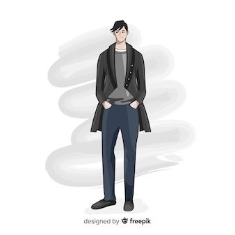 Ilustração de moda com modelo masculino
