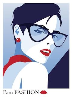 Ilustração de moda em aquarela. moda mulher em estilo pop art.