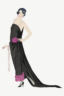 Ilustração de moda feminina vintage