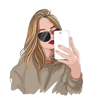 Ilustração de moda. garota de vetor de óculos, segurando o handphone