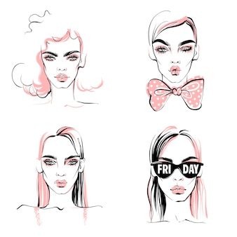 Ilustração de moda. meninas de vetor definido. retrato de mulher elegante.