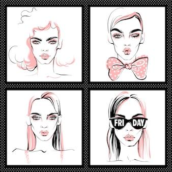 Ilustração de moda. meninas de vetor definido.