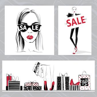 Ilustração de moda. meninas elegantes de vetor.