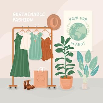 Ilustração de moda sustentável desenhada à mão plana com cabide e roupas