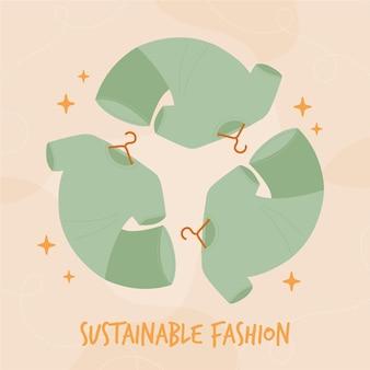 Ilustração de moda sustentável desenhada à mão plana com roupas