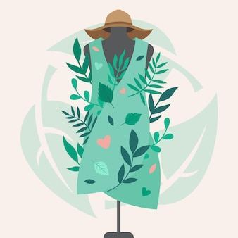 Ilustração de moda sustentável desenhada à mão plana com vestimenta de manequim