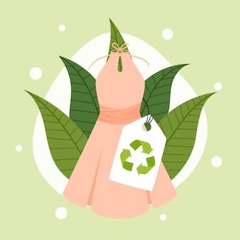 Ilustração de moda sustentável desenhada à mão plana
