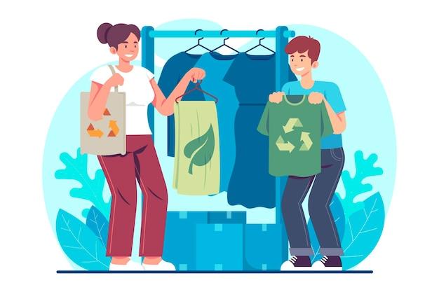 Ilustração de moda sustentável desenhada à mão