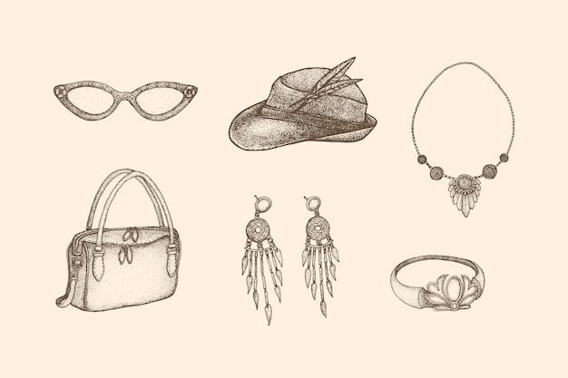 Ilustração de moda vintage feminina com estilo desenhado à mão