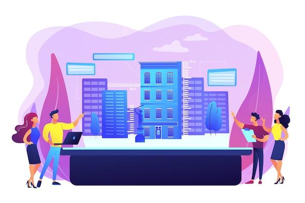 Ilustração de modelagem urbana de realidade aumentada