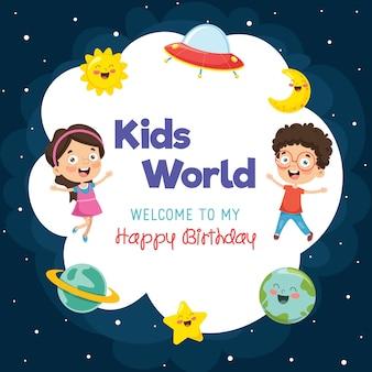 Ilustração de modelo de aniversário de crianças