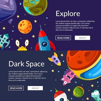 Ilustração de modelo de banners web horizontal com planetas de espaço de desenhos animados e navios