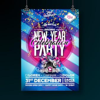 Ilustração de modelo de cartaz de celebração de festa de ano novo