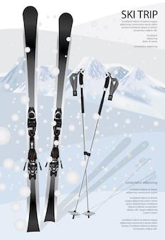 Ilustração de modelo de cartaz de esqui