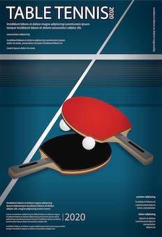 Ilustração de modelo de cartaz de tênis de mesa de pingue-pongue