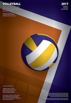 Ilustração de modelo de cartaz de torneio de voleibol