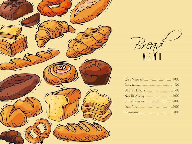 Ilustração de modelo de design de menu de padaria.