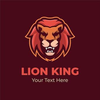 Ilustração de modelo de logotipo de cabeça de animal rei leão. vetor premium de jogos de logotipo esport