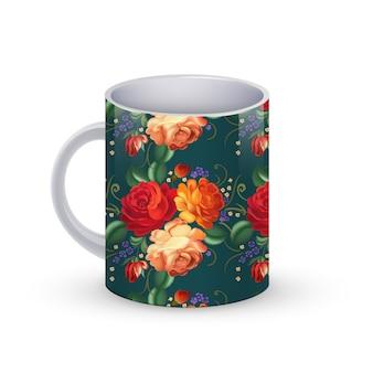 Ilustração de modelo de xícara de café com padrão tradicional russo de flores.