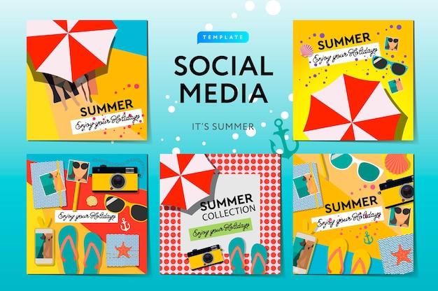 Ilustração de modelos de mídia social no verão