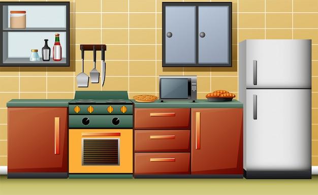 Ilustração, de, modernos, interior, cozinha