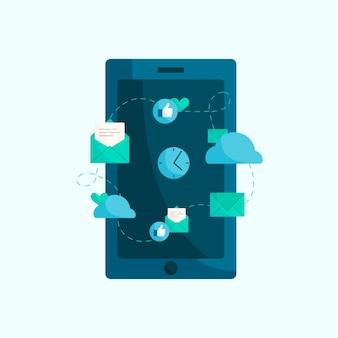 Ilustração, de, modernos, telefone móvel