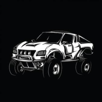 Ilustração de modificação preto e branco offroad
