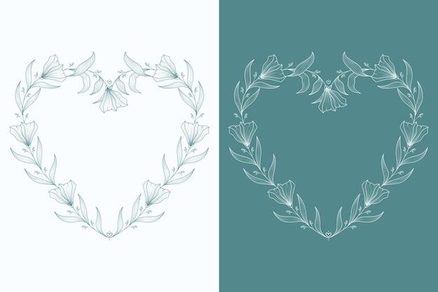 Ilustração de moldura de coração floral adorável