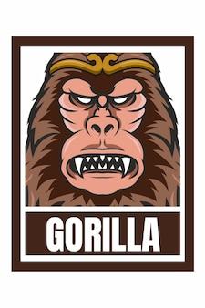 Ilustração de moldura de desenho de rosto de gorila isolada