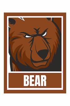 Ilustração de moldura de desenho de rosto de urso isolada