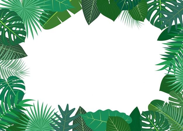 Ilustração de moldura feita de folhas verdes tropicais