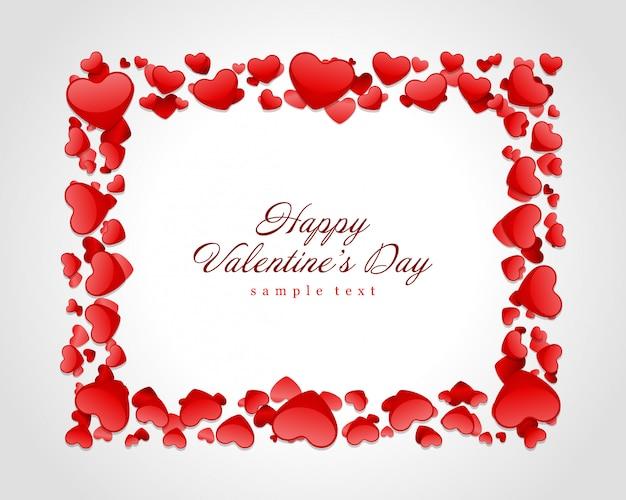 Ilustração de moldura vermelha brilhante corações dia dos namorados cartão