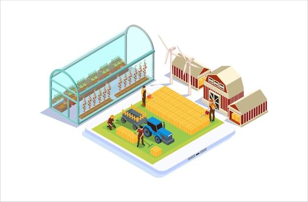 Ilustração de monitoramento de tecnologia de agricultura isométrica