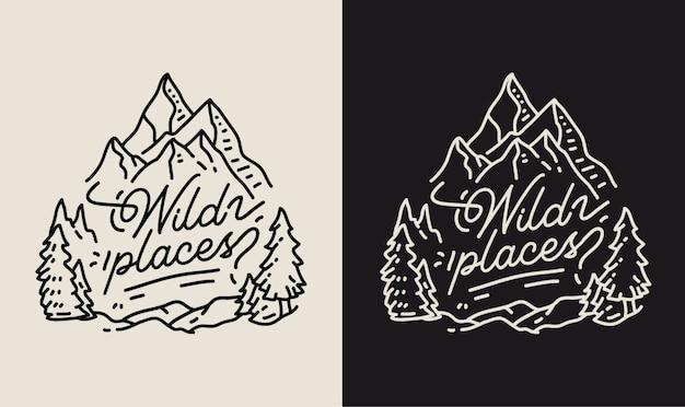Ilustração de monoline lugares selvagens