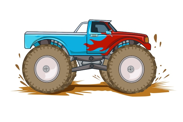 Ilustração de monster truck de aventura off-road Vetor Premium
