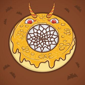 Ilustração de monstro assustador de donut de halloween