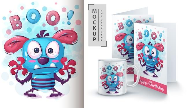 Ilustração de monstro boo para cartão e merchandising