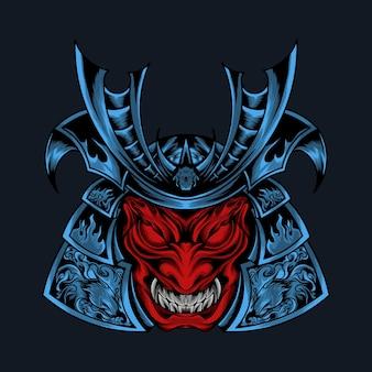 Ilustração de monstro de cabeça vermelha oni samurai com samurai de armadura azul