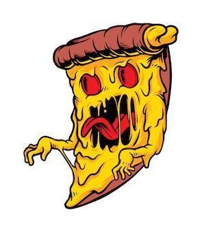Ilustração de monstro de pizza