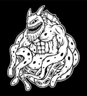 Ilustração de monstro de polvo monocromática. vetor premium