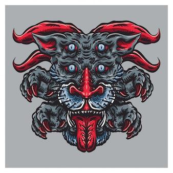 Ilustração de monstro de rosto fantasma